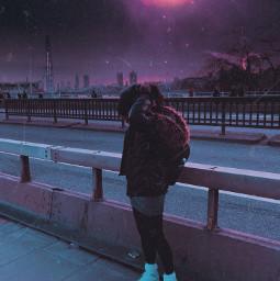 vaporwave synthwave lofi aesthetic spacecore spaceaesthetic dystopic escapism surreal surrealism surrealart digitalart purpleaeathetic london londoneye freetoedit
