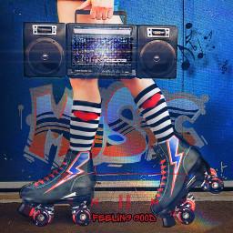 feelinggood replaychallenge musica madewithpicsart summervibes music musicalnotes rollerskates rollerskating boombox graffiti musicislife texture overlay dodger rcfeelinggood freetoedit