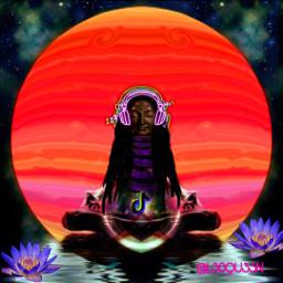 headphones neon meditation buddha dreads dreadlocks lotus lotusflower moon planet water meditate music magic peaceful freetoedit srcneonheadphones neonheadphones
