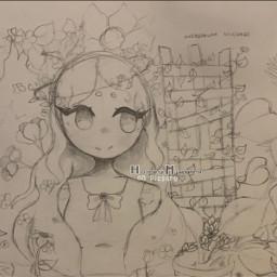 brok redraw sketch inktoberredraw girl plants overgrown halo flowers myart art interesting notfreetoedit