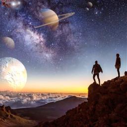 picsart picsarttool myedit editedbyme mystickers surreal surrealedit mountain hiking sky planets clouds lights mans freetoedit