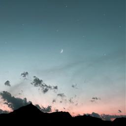 sky night sunset moon stars clouds mountains freetoedit background bluesky nightstars