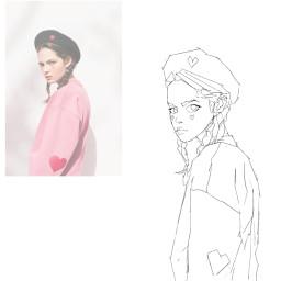 art girl pink heart