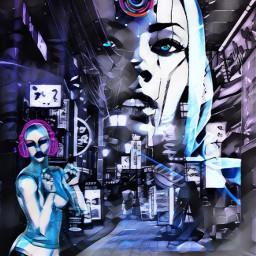 neonheadphones stickerremix madewithpicsart futuristic sciencefiction neon robot robotgirl headphone headphones magiceffect doubleexposure overlay srcneonheadphones freetoedit