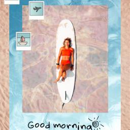challenge girl water sand beach surfboard surfing summer summeraesthetic summervibes laying sunny red blue tan transparent frame polaroids palmtree doodles airplane boat ocean sea ircsurfsup surfsup freetoedit
