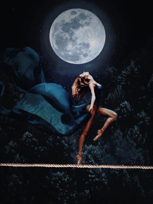 🖤🌕🌌  #freetoedit#noche#luna#bailarina#cuerda