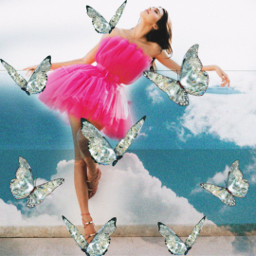 freetoedit kendalljenner madewithpicsart skyandclouds makeawesome pretty butterflies summer dress pink shiny beautiful heypicsart