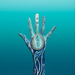 interesting hand paint abstract blue lines aqua water bodypaint sea ocean