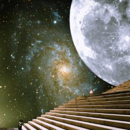 freetoedit unsplash space collage surrealism galaxy stars moon planet sun light stairs plrd3