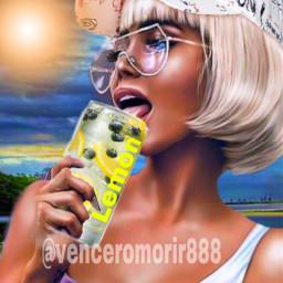 girl blonde drinking ducks ircdesignthecan designthecan freetoedit