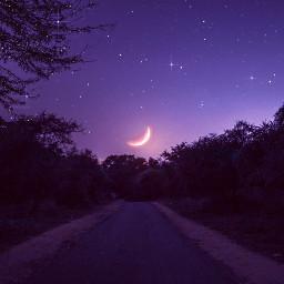 purple night background landscape mountains trees moon glitter sparkles purpleaesthetic paisaje morado brillante violeta noche luna brillos estrellas gaby298 freetoedit