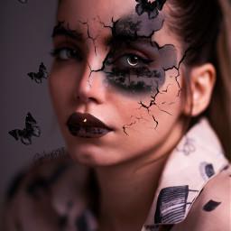 face surreal black butterflies blackbutterflies cara irreal broken mariposas mariposasnegras remixed freetoedit