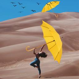 cooledits umbrella yellowumbrella prettydancer beautifuldancer desert desertdancer dancer dancerumbrella umbrelladance dance flyaway ircdancinginthedesert dancinginthedesert freetoedit