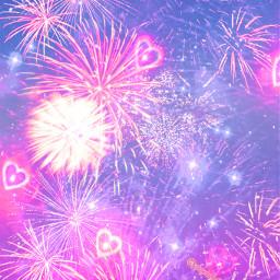 freetoedit glitter sparkle galaxy fireworks hearts love stars sky night pink purple pastel summer celebration aesthetic landscape neon shimmer cute kawaii overlay background replay