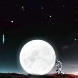 freetoedit manipulation madewithpicsart surreal creative heypicsart moon astronaut imagination colochis89 happy colochis89