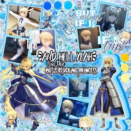 saber saberfate saberfatestaynight saberpendragon pendragon edit blue yellow freetoedit