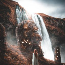 madewithpicsart madebyme picsart instagram art artist picoftheday photo photography surreal edits picsartedit man statue face ruins waterfall conceptart girl women fantasy ancient sky nature landscape freetoedit