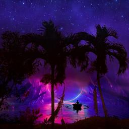 colorful landscape background vaporwave beach purple pink night sea palmtrees stars stelle paisaje noche morado violeta rosa palmeras playa myedit gaby298 remixed freetoedit