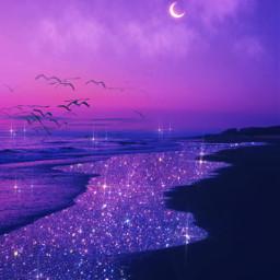 summer night summernight purple beach glitter sparkles water pink background noche atardecer brillante morado violeta rosa brillos purpleaesthetic lofiedit mar sea playa myedit gaby298 freetoedit