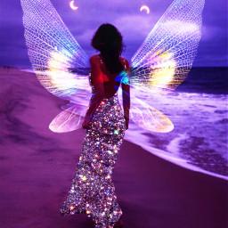 fantasy replay butterfly wings woman purple beach background colorful glitter dress mujer playa vestido brillante alas mariposa morado violeta rosa remixed freetoedit