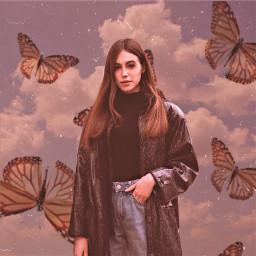 heypicsart makeawesome picsart vintage aesthetic background clouds butterflies model girl love share save remixit ❤️❤️❤️ freetoedit unsplash