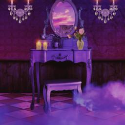 surreal surrealedit tocador morado violeta nubes rosa espejo espelho lamparas velas clouds desk mirror purple pink candles myedit remixed freetoedit