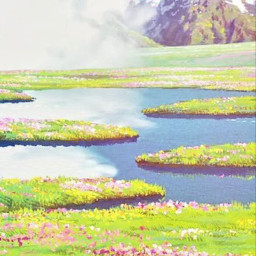 scenery drawn fields medows pinkflowers mountains landscape clouds picture outside daytime sunny calm lake wallpaper backround greengrass tranquility
