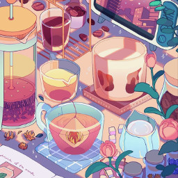 creditotherartists adorable cute kawaii vibe aethstetic calm zen sunset wallpaper backround tea food roses cramped phone notes quiet aethsteticallypleasing notminebutcool