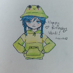 venti genshinimpact ventigenshinimpact genshinimpactventi anime animeboy drawing animedrawing frog froghat
