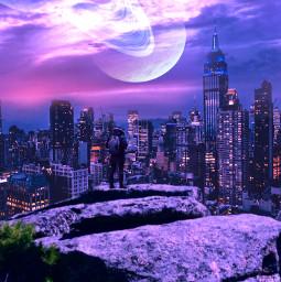 skycolors city planet rock man colors freetoedit