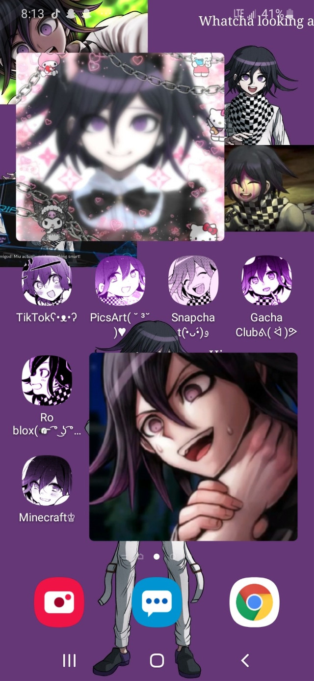 I made a wallpaper:D I'm making my phone Kokichi style- Also,there is nothing wrong with maid dresses. It's just that weird people are sexualizing it.     #happyshits