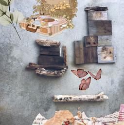 rustic butterflies collage freetoedit