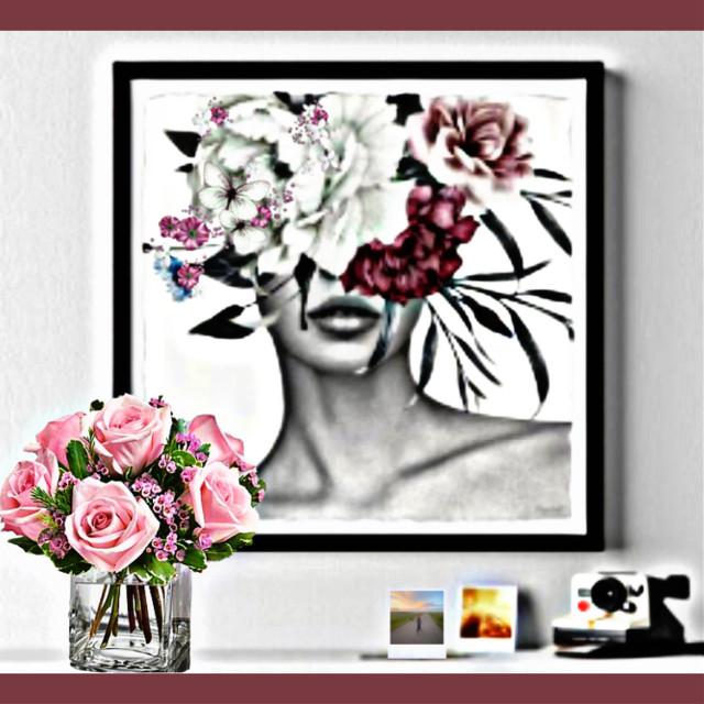 #polaroids #camera #picture #flowers #boquet #decor #shelf #art #lady #girl #woman #floralhead
