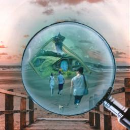 myedit myownedit freetoedit picsart magnifyingglass magnify magic magical beach bridges