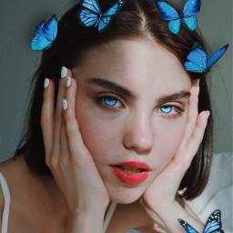 girl woman butterfly blue beautiful art newedit edit myedit blueeyes freetoedit
