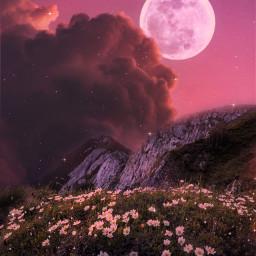 freetoedit sky clouds heaven moon field flowers glitter landscape pink pinkaesthetic mountain view dreamy aesthetic aestheticwallpaper aestheticsky aestheticedit aesthetictumblr vaporwave remixit background gacha galaxy