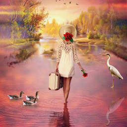 designthesunhatimageremixchallenge onherway rebootedit sunsetsky water redroses sunhat trees birdsflying suitcase ducksswimming crane reflectionsinwater paradise ircdesignthesunhat freetoedit