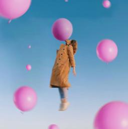 freetoedit girl balloon pink floating blue sky heypicsart be