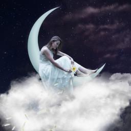freetoedit petals flower girl myedit surreal fantasy cloud clouds moon moolight araceliss