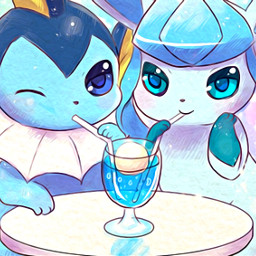 freetoedit eeveelutions vaporeon glaceon cute pokemon cocktail blue blueaesthetic bubbles happy happyness lavieestbelleaussibellequetoi