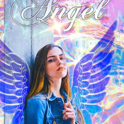 girl angel grafitti painted wall wings pretty woman maskeffects people