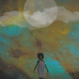 planet milkyway girl woman sea seaside beach stars night moon clouds