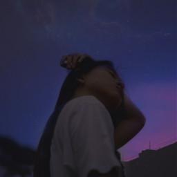 betterdays girl woman sky moon night stars art aesthetic edit newedit myedit purpleaesthetic freetoedit