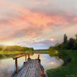 freetoedit mastershoutout pond landscape nature sky lake sunset