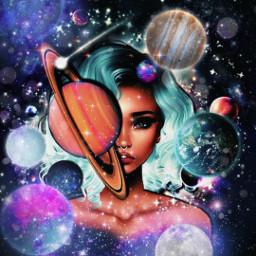 challenge girl stars galaxy art photo drawing freetoedit srcplanetspower planetspower