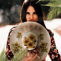 challenge hat sunflower beautiful summer girl artwork colorful cool freetoedit ircdesignthesunhat designthesunhat