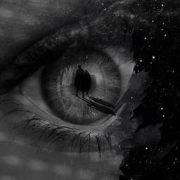 background blueeye eye black effect galaxy people walking shadow blackandwhite silhouette freetoedit