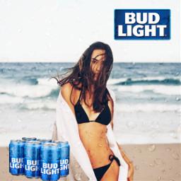 girl budlight beer beerchallenge tiktok beach beerposter freetoedit unsplash