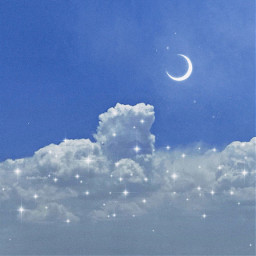 photography sky cloud clouds moon star stars blue aesthetic aesthetically aestheticedits makeawesome heypicsart papicks picsart glitter sparkle freetoedit