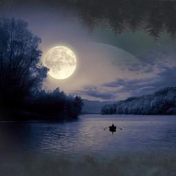 moon sea ftestickers forest trees lanscape night lake moonlight planet waterreflection cloud smoke fog human boat blakandwhite shadow freetoedit